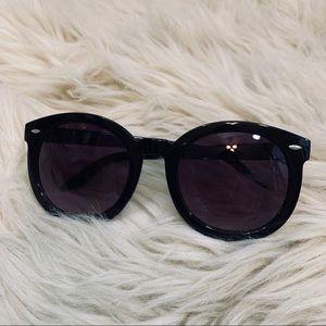 'LUNA' round black sunglasses
